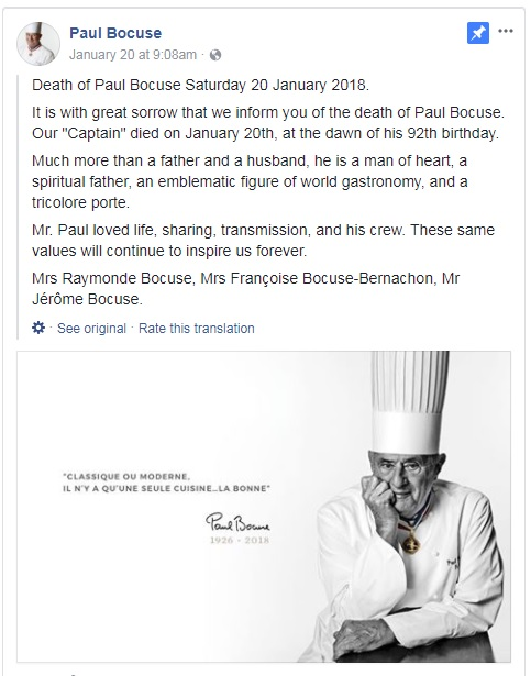 Paul Bocuse Death Announcement Facebook
