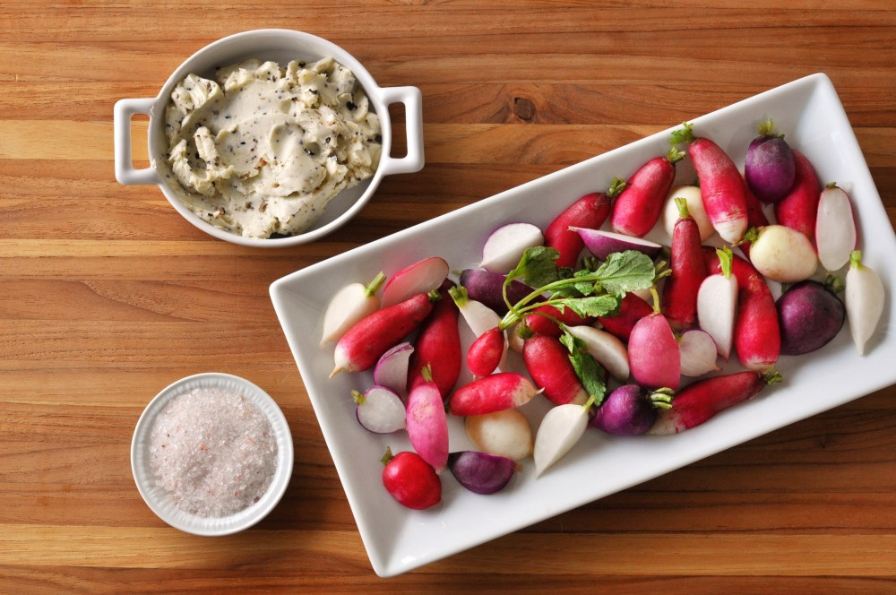 Radishes with Truffle Butter & Pink Salt