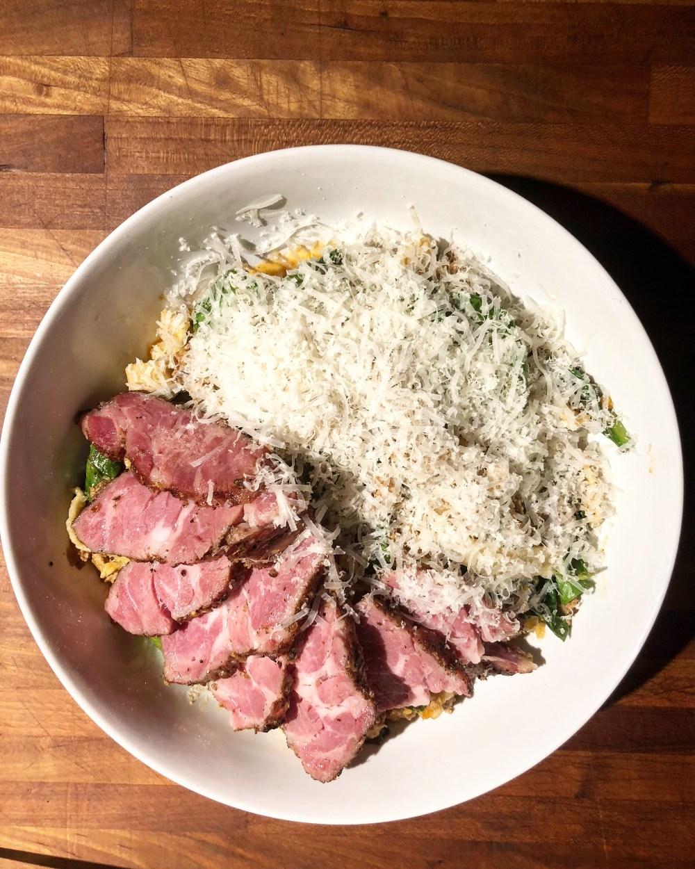 Lamb bolognese, Michigan rye fettuccine, greens, parmigiana reggiano, House lamb neck pastrami. Mabel Gray