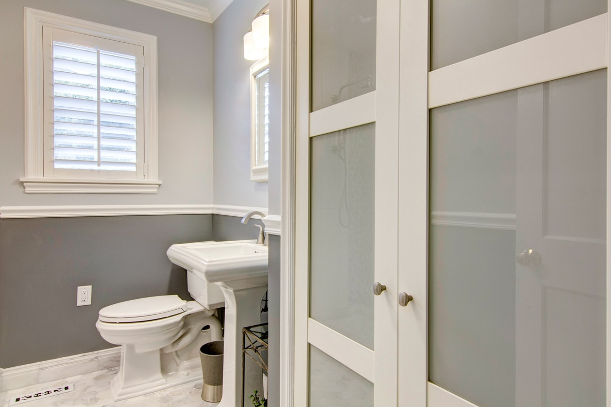 Two Tone Walls With Chair Rail Contemporary Bathroom In Historic Home Centerbeam