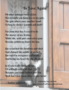 Pet Loss Poem To Love Again