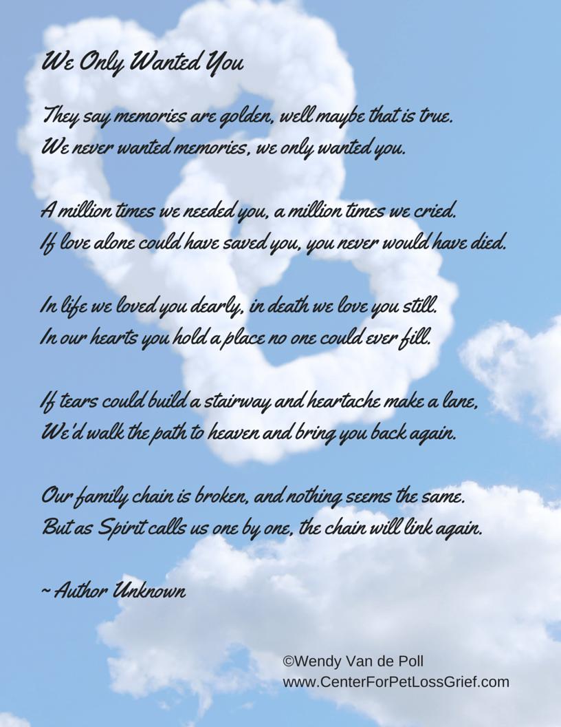 dog grief poems