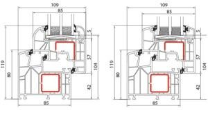 Fenêtre PVC Alusplast IDEAL 8000 - Coupe