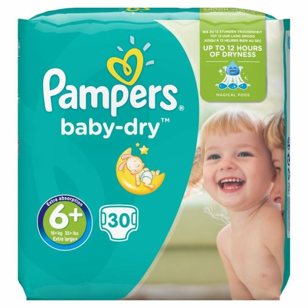 Pampers Baby-dry Size 6 Extra Large Nappies 30pce - Centra