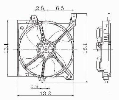 Front Radiator Cooling Fan Includes Motor/Blade/Shroud w/1