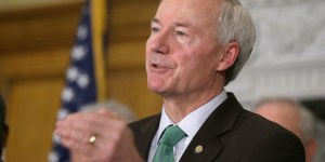 Arkansas Gov. Asa Hutchinson speaks during a news conference at the Arkansas state Capitol in Little Rock, Ark., Tuesday, March 17, 2015. Hutchinson has proposed keeping higher education funding flat in his $5.2 billion budget plan. (AP Photo/Danny Johnston)