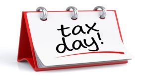 Tax Day. 3d rendering isolated calendar with Tax Day text