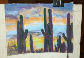 pastel of cacti