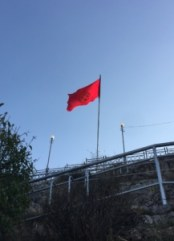 The Kyrgyz National Flag on Suleiman-Too in Osh City.