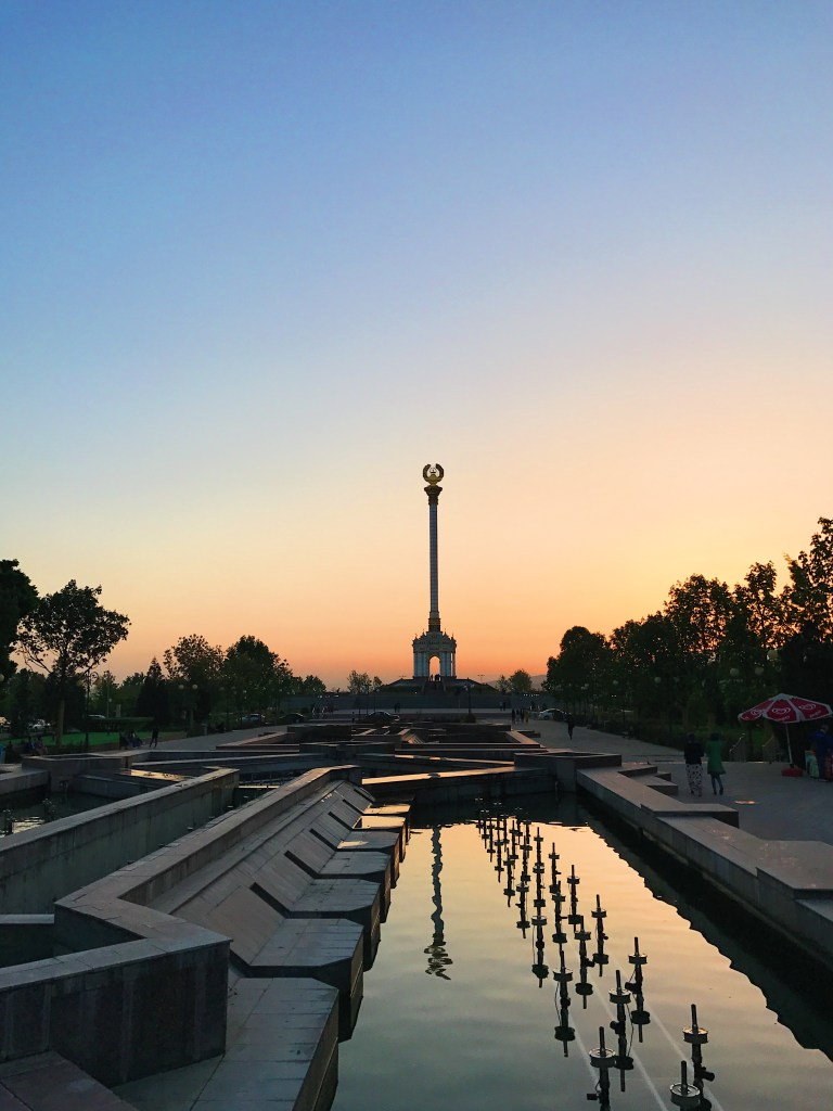 Close to the Palace of Nations, right in the city center, a bunch of monuments have erected in order to commemorate the country's history. What you see on this picture is a monument displaying the national emblem of Tajikistan.