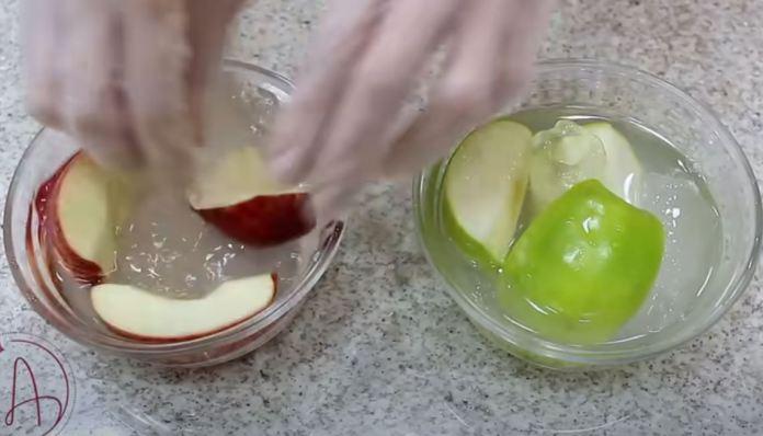 maçãs cortadas