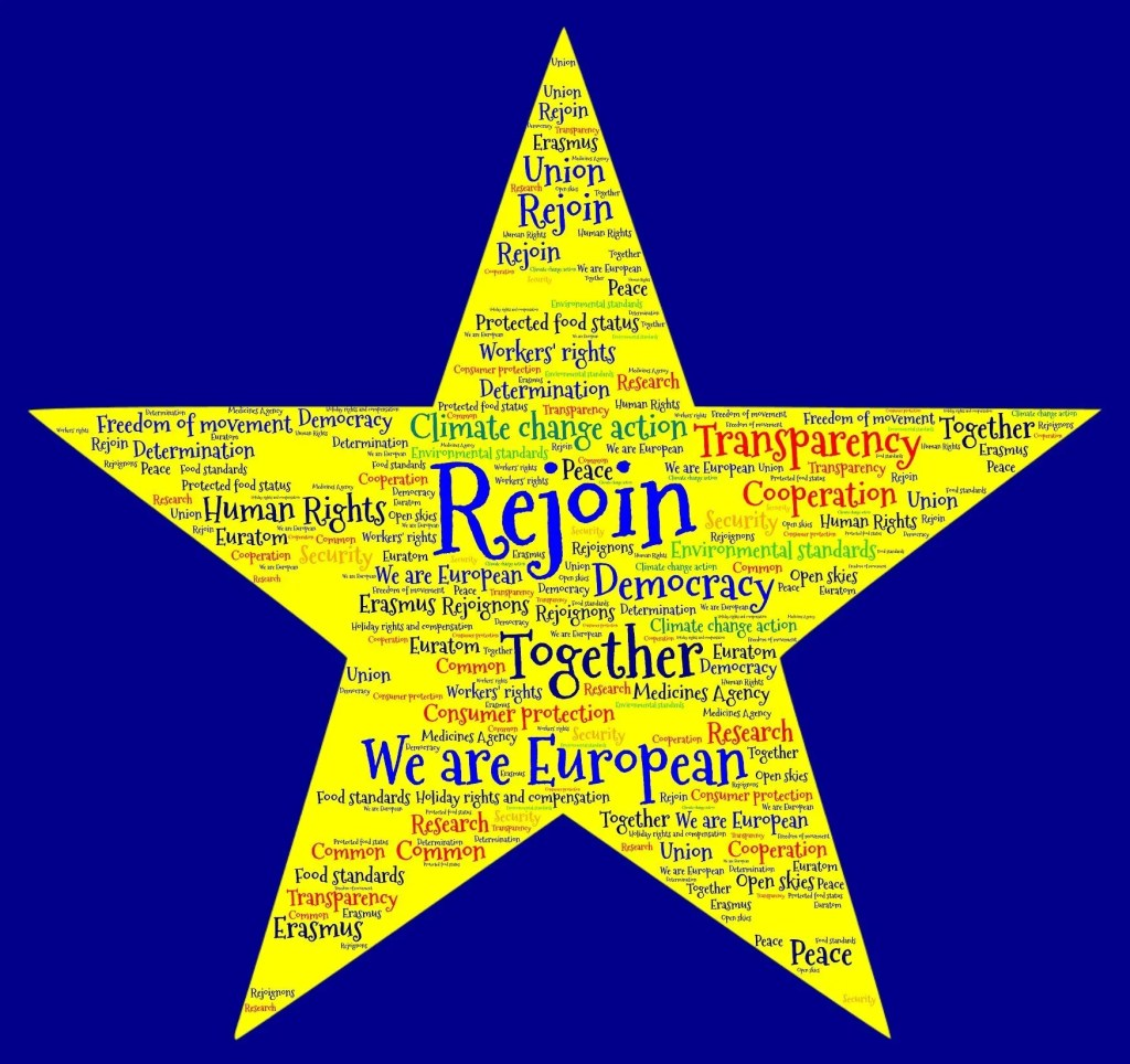 Where are you on rejoin? Cliff Mitchell For many of us, it is axiomatic that leaving the EU was a huge mistake that will damage our country and diminish our rights as citizens. Our future, we believe, must be as part of the EU so we can work together to address the very real and massive issues we face nationally and internationally. The UK has the potential to be a real force for good in the world but not if we continue down a path of right-wing populism and English exceptionalism. Some argue that now is not the time to campaign to rejoin the EU: it's too soon, people have had enough of Brexit, we'll be branded as sore 'Remoaners', we have to be patient, it's going to be a long process to persuade public opinion of the case for rejoining. Others argue that if we believe our future lies with the EU, we should say so now, loudly and clearly, giving like-minded people a rallying voice and hope for a better tomorrow. Experience of street campaigning over recent years does suggest one thing: being crystal clear about your own position leads to a much more constructive debate with those who disagree. Your arguments are easily undermined if your position is unclear or ambiguous. Arguing for a People's Vote for example was unconvincing and easily dismissed if you were unwilling to be clear about your own position on remain versus leave. It's also hard to be passionate about an ambiguous position. The Leave campaign was successful based on stirring people's emotions rather than presenting data and rational argument and there is still plenty of passion generated by Brexit just waiting to be channelled. Can that passion be sustained over a long, steady campaign for gradual, closer alignment with the EU? Will it burn itself out in a short rejoin now campaign that may not be successful? If we believe in the UK as a constructive partner in the biggest peace project in history, in working together with diverse people to make the world a better place, that the UK belongs at the hea