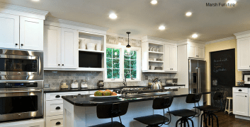 central transitional kitchen