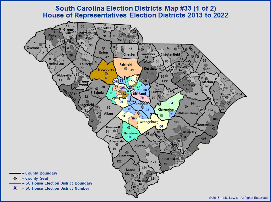 SC House of Representatives Election Districts Map 2013 to 2022