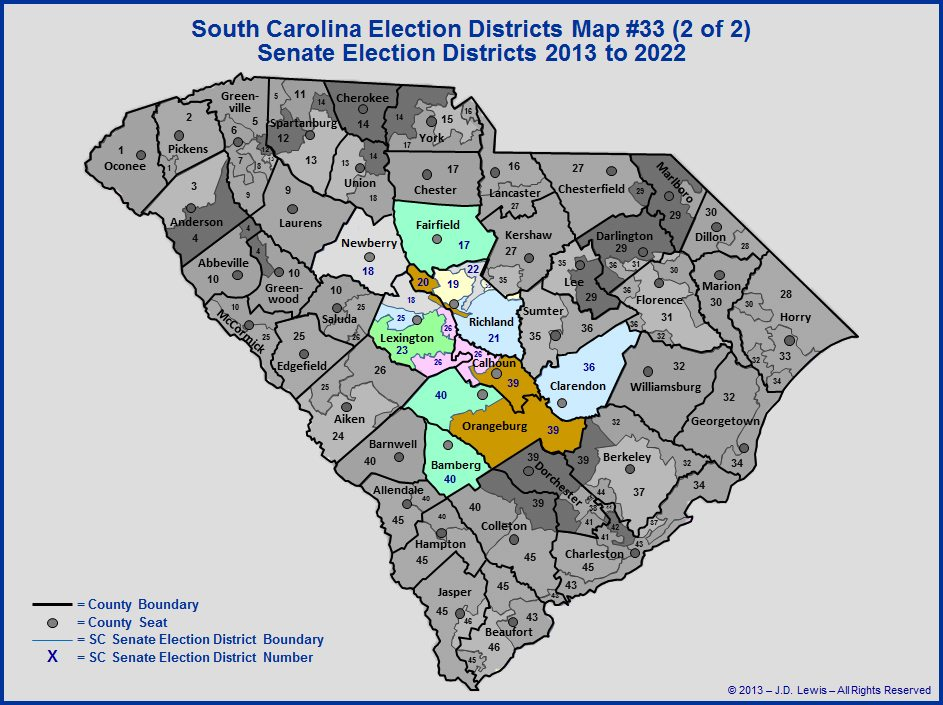 SC Senate Election Districts Map 2013 to 2022