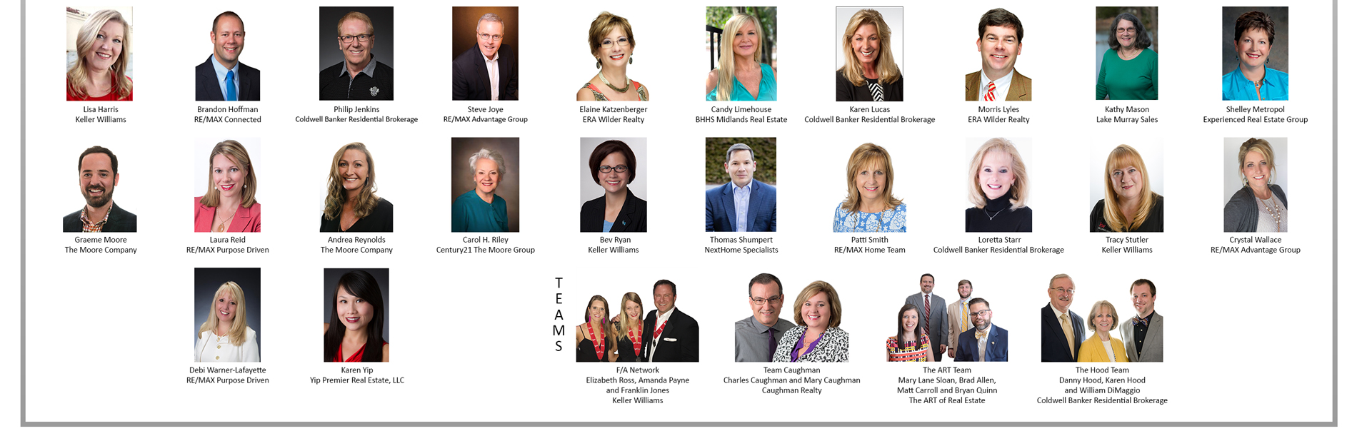 Bottom half of Platinum Residential Circle of Excellence Winners