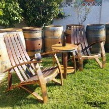 Wine Barrel Stave Relax Adirondack Chair Set Rustic Patio