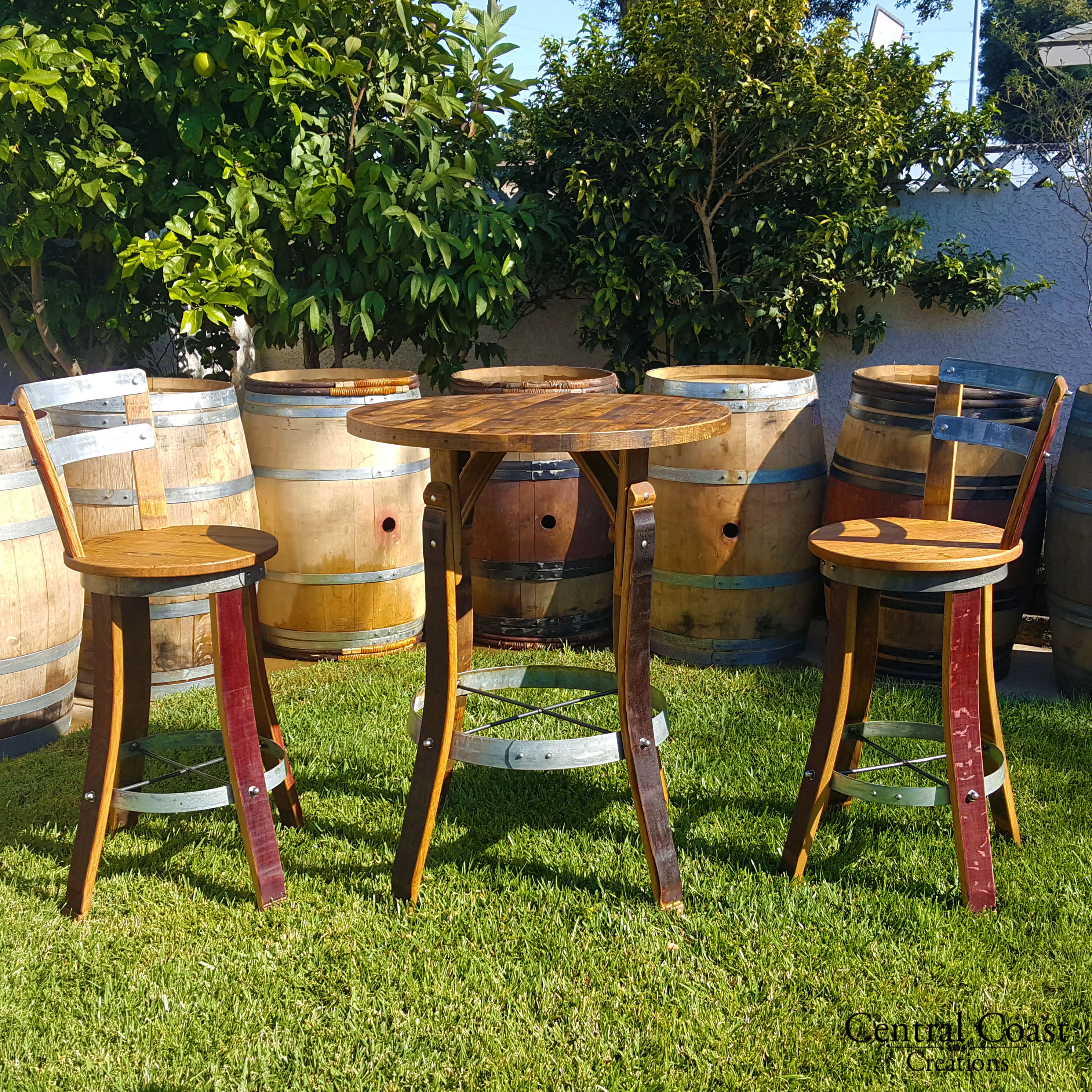 Wine Barrel Bistro Set Swivel Top Stools Free Shipping Central
