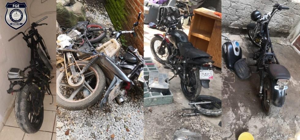 Motocicletas robadas que fueron recuperadas en un cateo en Jiutepec