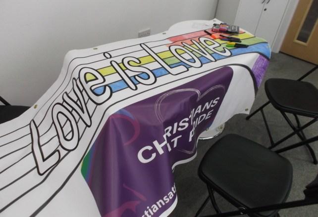 half-finished banner 'love is love'