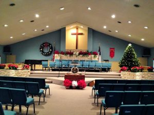 Central's sanctuary decorated for Christmas