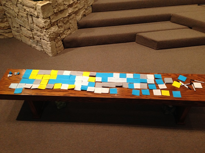 Prayer altar covered with thanksgiving sticky notes
