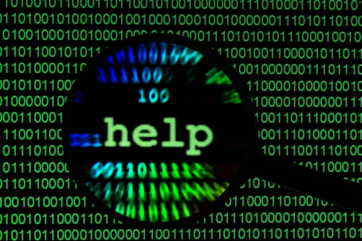 """The word """"help"""" embedded on a screen showing binary numbers"""
