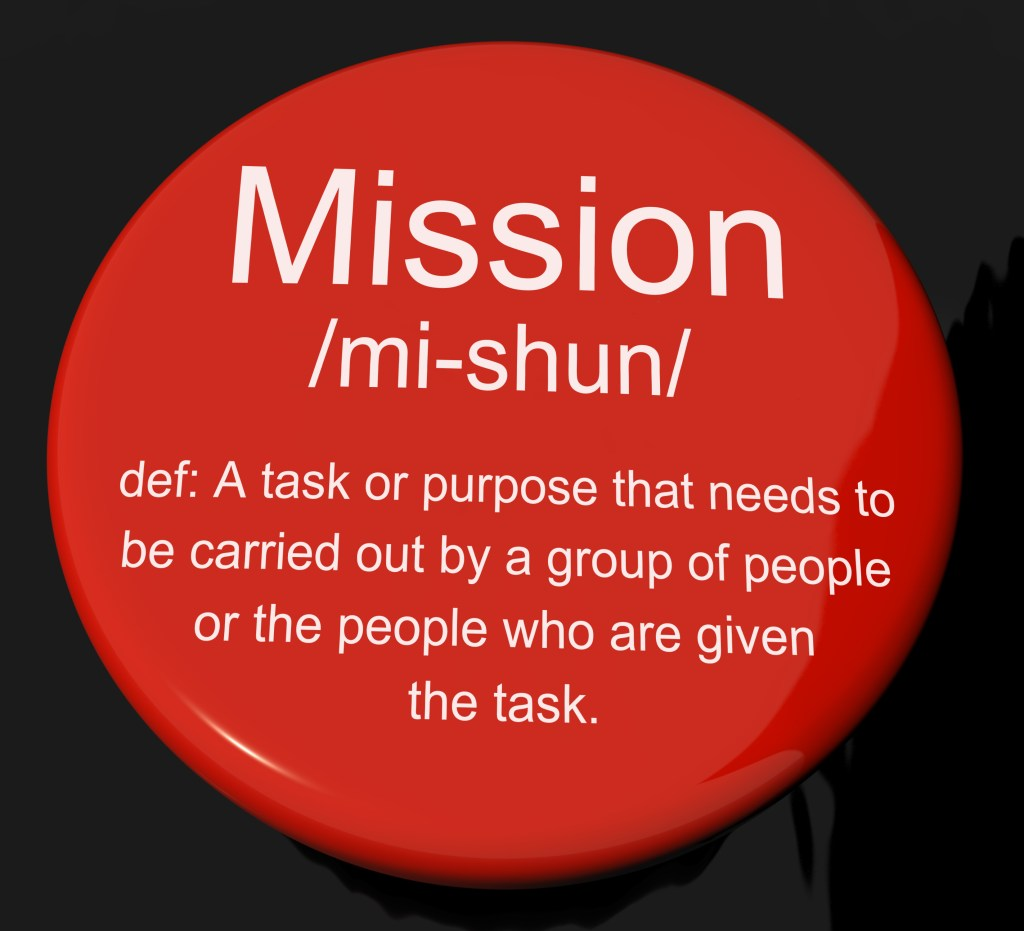 Button showing the definition of mission