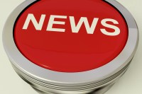 Icon Or Metallic Red Button Showing The Text News For Information Or Media