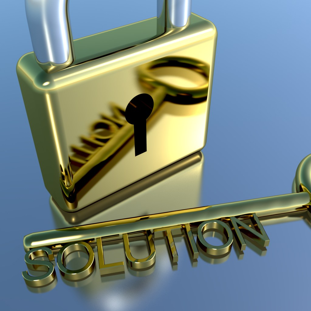 Padlock With Solution Key Showing Strategy Planning And Successes