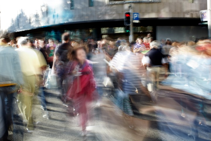 Blurred image of a crowd of people