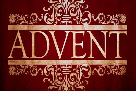 Gold stylized ADVENT on a burgundy background.