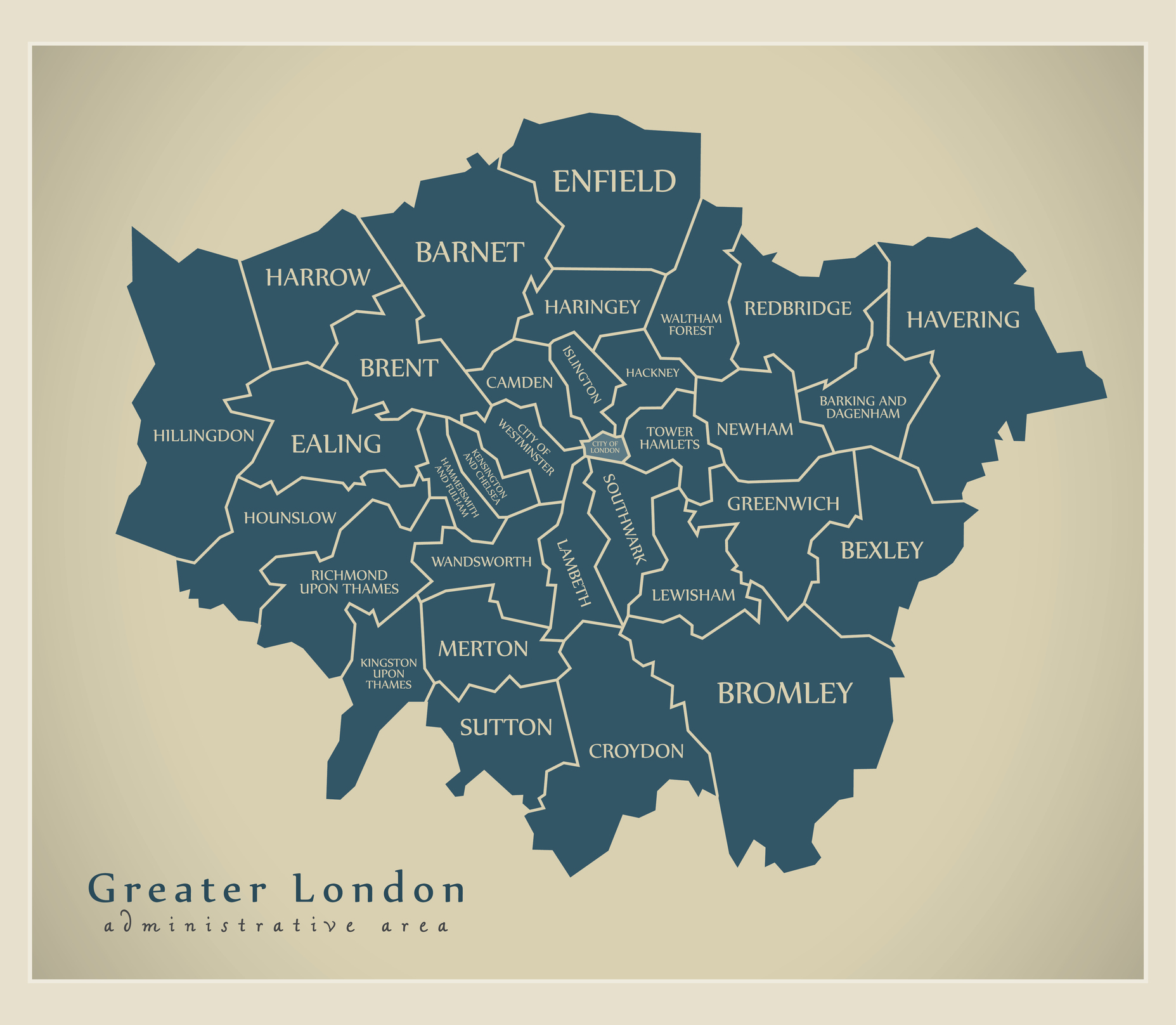 Districts Of London Map.Modern Map Greater London Labelled Districts Administrative Area