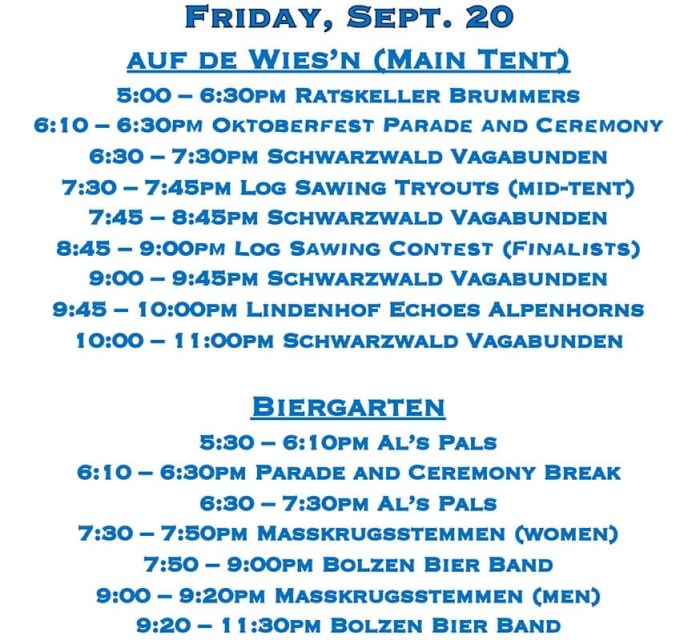 Peoria Oktoberfest Schedule - Friday