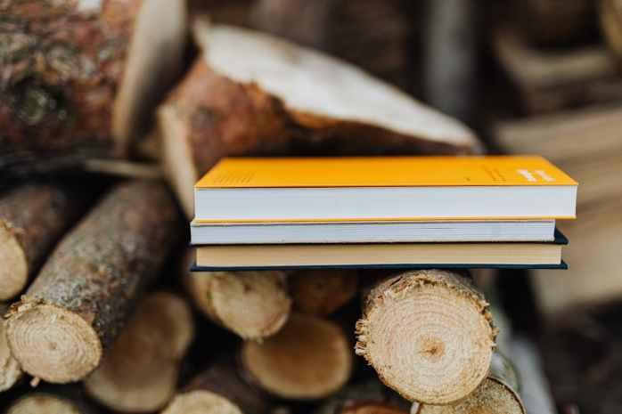 books on wood stack in rural backyard