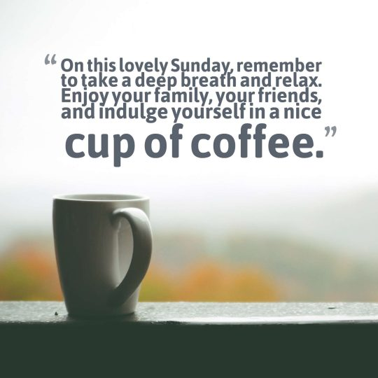 On this lovely Sunday, remember to take a deep breath and relax. Enjoy your family, your friends, and indulge yourself in a nice cup of coffee.