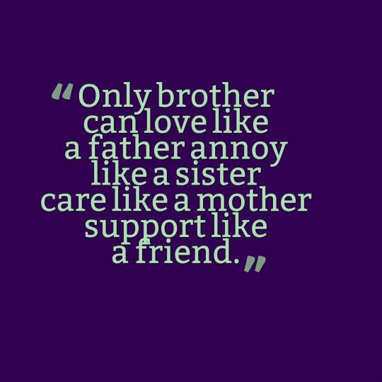 Only brother can love like a father annoy like a sister care like a mother support like a friend.