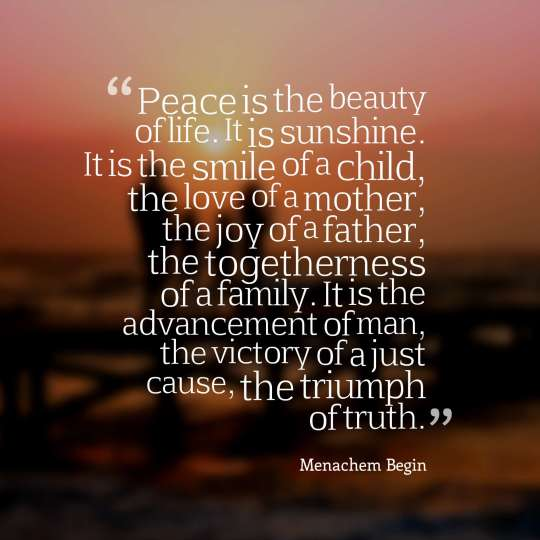Peace is the beauty of life. It is sunshine. It is the smile of a child, the love of a mother, the joy of a father, the togetherness of a family. It is the advancement of man, the victory of a just cause, the triumph of truth.