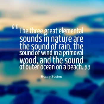 The three great elemental sounds in nature are the sound of rain, the sound of wind in a primeval wood, and the sound of outer ocean on a beach.