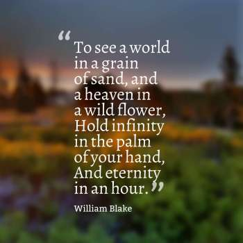 To see a world in a grain of sand, and a heaven in a wild flower, Hold infinity in the palm of your hand, And eternity in an hour.