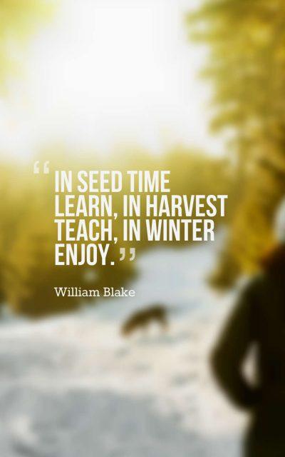 In seed time learn, in harvest teach, in winter enjoy.
