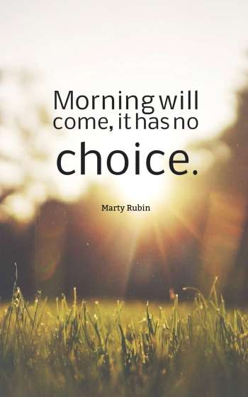 Morning will come, it has no choice.