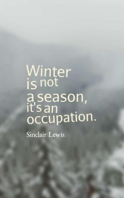 Winter is not a season, it's an occupation.
