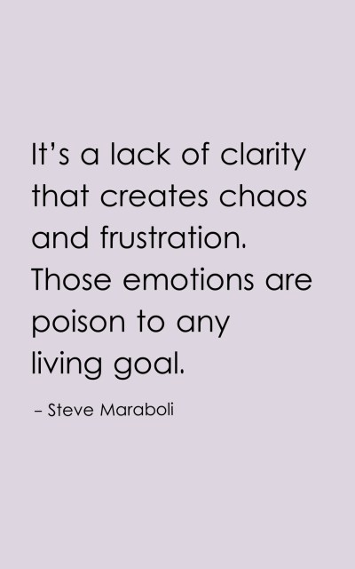 It's a lack of clarity that creates chaos and frustration. Those emotions are poison to any living goal.