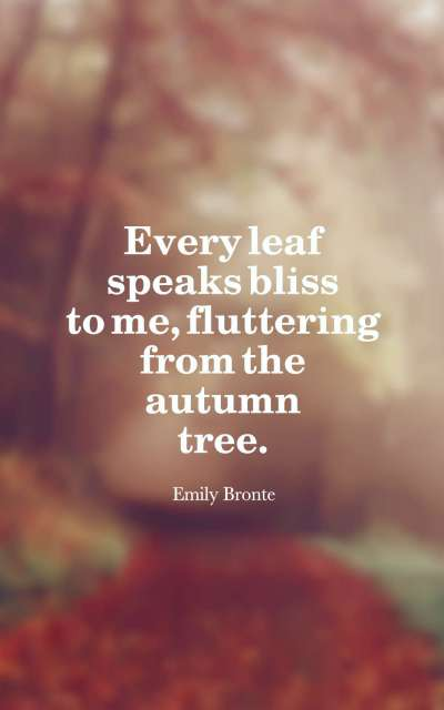 Every leaf speaks bliss to me, fluttering from the autumn tree.
