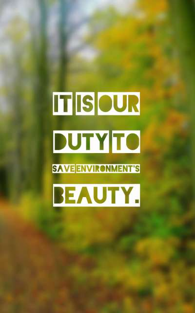 It is our duty to save environment's beauty.