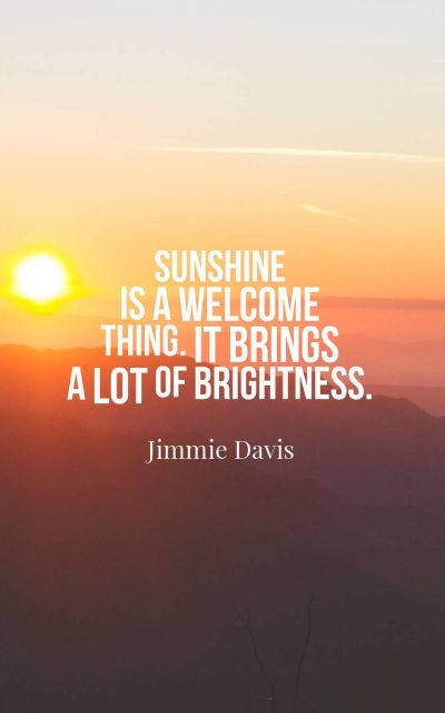 Sunshine is a welcome thing. It brings a lot of brightness.