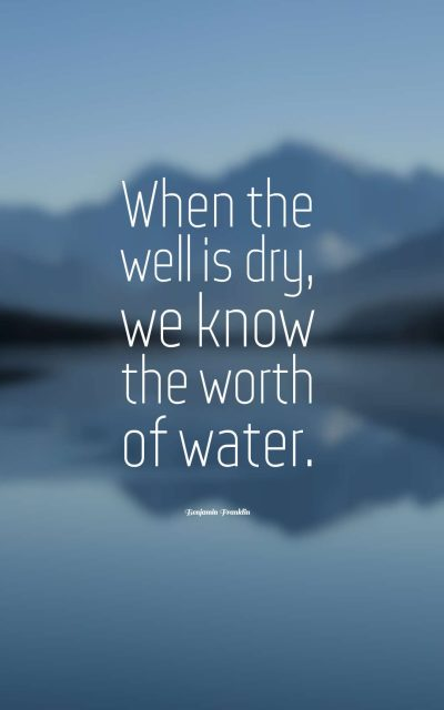 When the well is dry, we know the worth of water.
