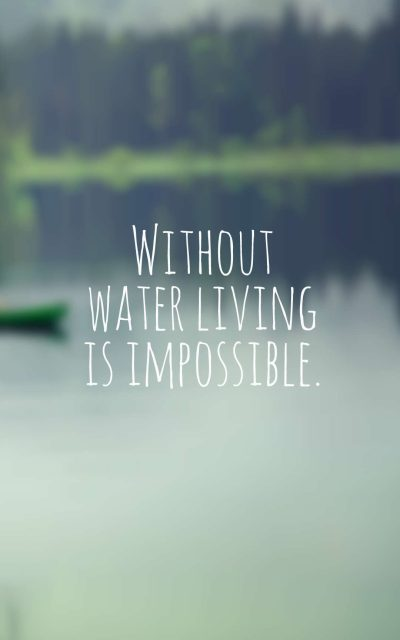 Without water living is impossible.