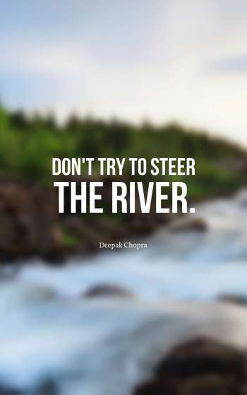 Don't try to steer the river.
